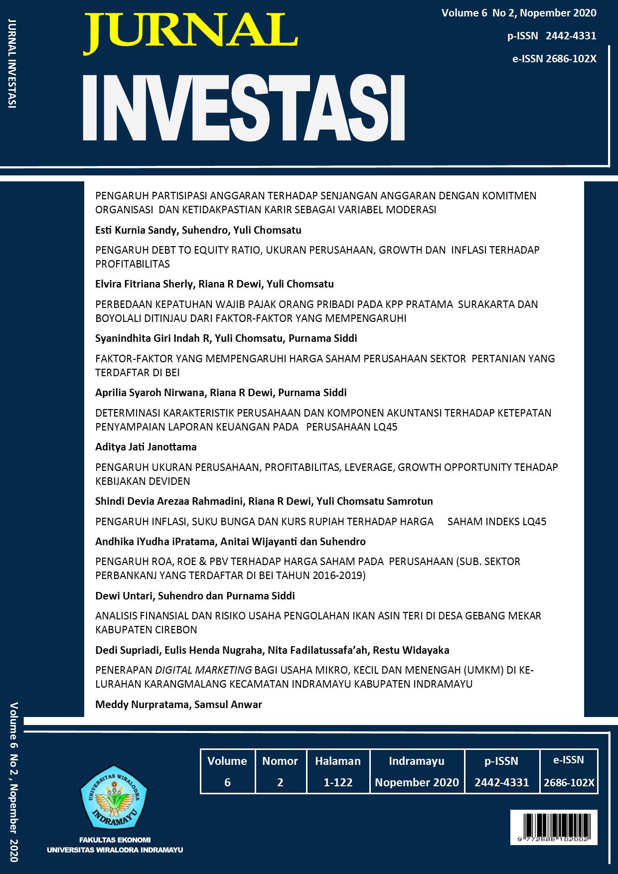 View Vol. 6 No. 2 (2020): Jurnal Investasi Nopember 2020
